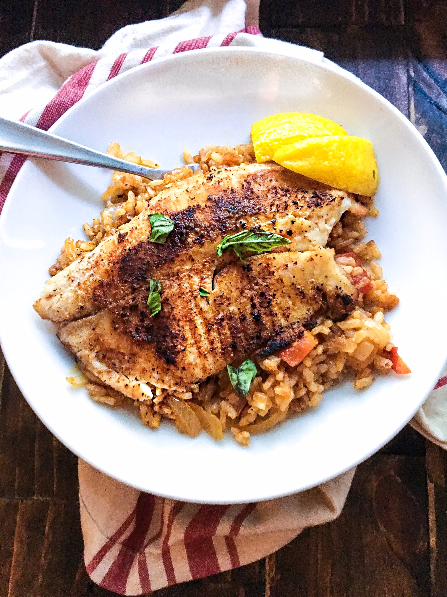 Grilled fish and dirty rice kellie rice cakes for Bbq fish grill